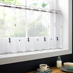 "Voile Cafe Net Curtain-Cats Design-18"" and 24"" Drops"
