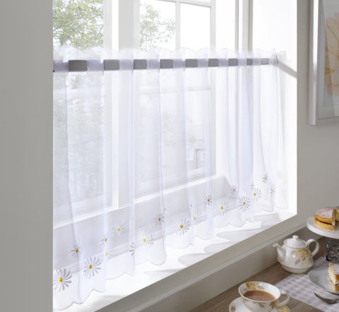 "Voile Cafe Net Curtain-Daisy Design-18"" and 24"" Drops"