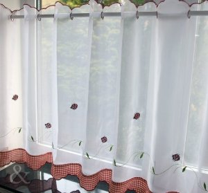 "Voile Cafe Net Curtain-Ladybird Design-18"" and 24"" Drops"