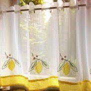 "Voile Cafe Net Curtain-Lemons Design-18"" and 24"" Drops"