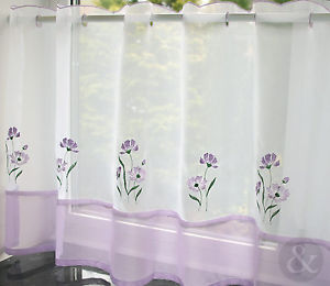 "Voile Cafe Net Curtain-Lilac Design-18"" and 24"" Drops"
