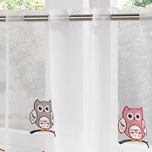 "Voile Cafe Net Curtain-Owls Design-18"" and 24"" Drops"