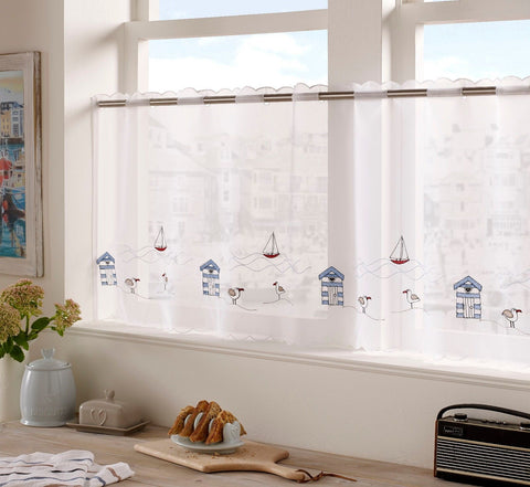 "Voile Cafe Net Curtain-Seaside Design-18"" and 24"" Drops"