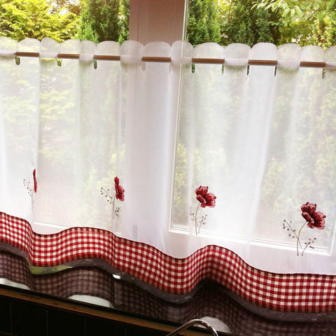 "Voile Cafe Net Curtain-Poppy Design-18"" and 24"" Drops"