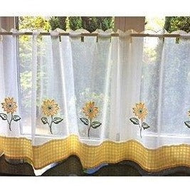 "Voile Cafe Net Curtain-Sunflowers Design-18"" and 24"" Drops"