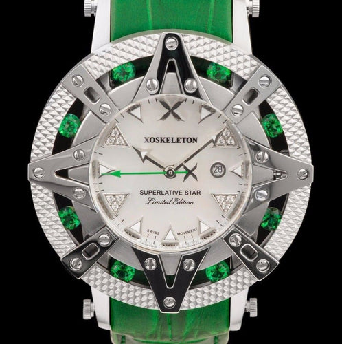 New Xoskeleton Superlative Star Swiss Golf Green Leather Limited Edition Watch