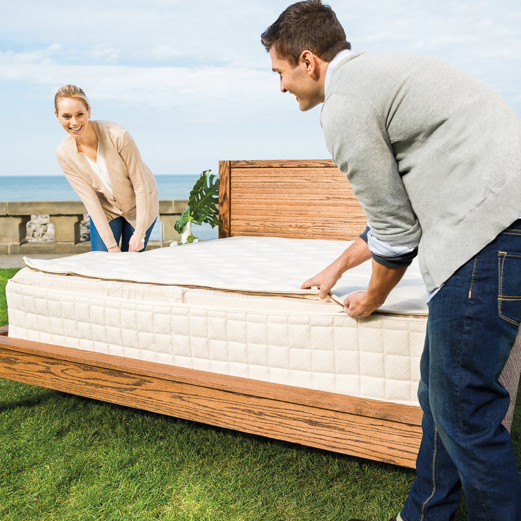 unzipping Naturepedic EOS Trilux mattress