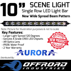 "Aurora 10"" Inch 5w SCENE Single Row Light Bar"
