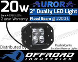 "Aurora 2"" Inch 40w Dually Flush Mount Flood LED Light Bar"