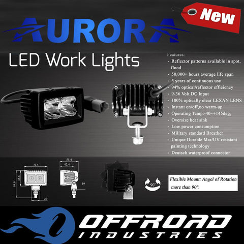 "Aurora 2"" Single Row LED Work Light Flood Beam ROK"