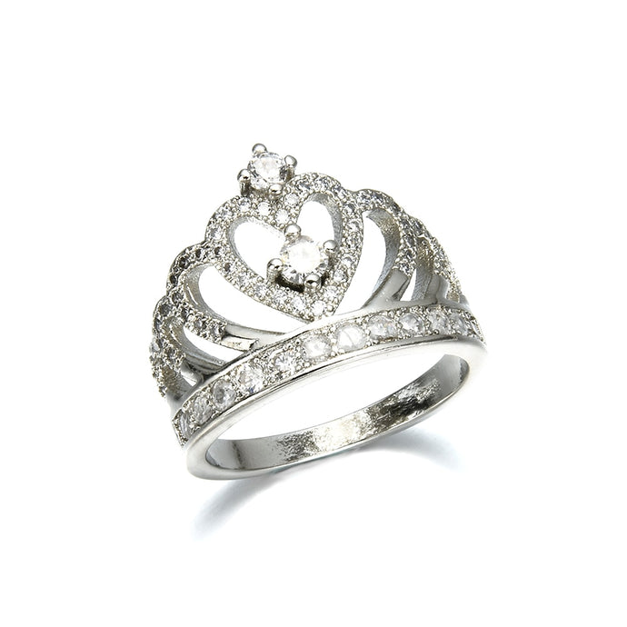 2019 New Fashion Silver Crown  Rhinestone Ring