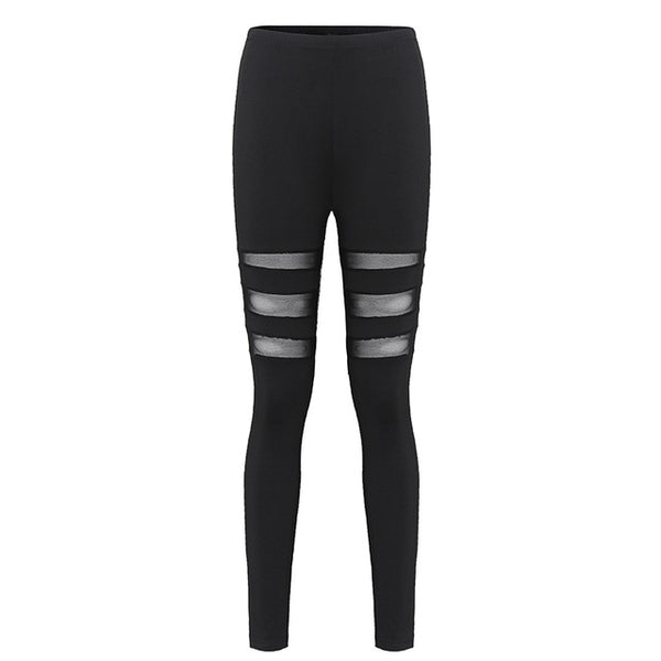 ZANZEA Sexy Mesh Workout Insert Leggings Women Fitness Color Block High Waist Leggings Casual Leggings Plus Size Black Pants
