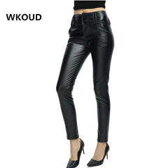 WKOUD Fall Winter Leggings For Women PU Leather Skinny Pencil Pants Female High Waist Shinny Leggings Full Length Trousers P8027