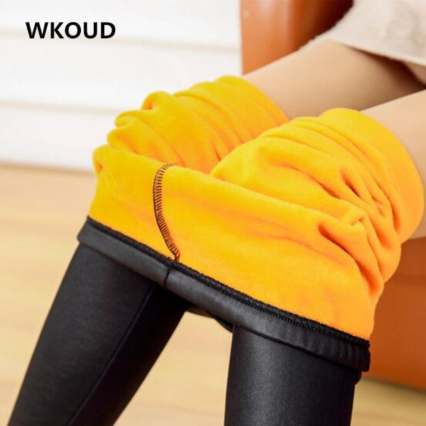 WKOUD Winter Leather Leggings For Women Gold Fleeces Warm Pants Skinny Women's Thickening Leggings Footless Trousers P8118