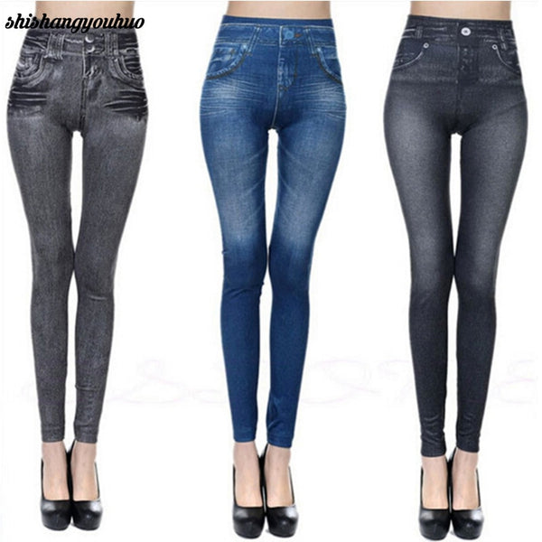 Slim Women Leggings Faux Denim Jeans Leggings Sexy Pocket Printing Summer Leggings Casual Pencil Pants Women Clothing  2017