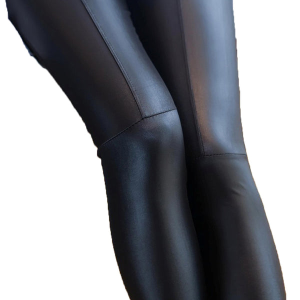 Women Sexy Faux Leather Tights Stretchy Joint Leggings Pants Slim Pencil Pants Skinny Pants (Black)