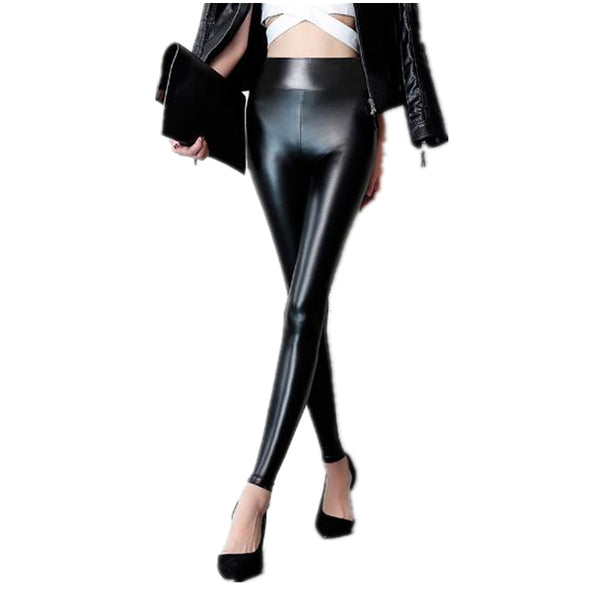 Thickening Leggings Women Leggins 2017 Warm Winter Leggings Fitness High Waist Pants Solid Black PU Leather Legins Plus Size 3XL