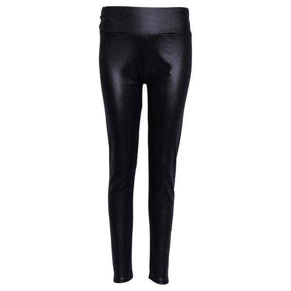 Womens High Waist Faux Leather Stretchy Pencil Shiny Matte Leggings