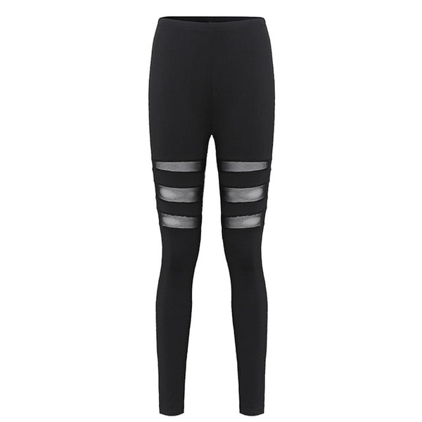 ZANZEA Women Leggings 2018 Casual Fitness High Waist Leggings Sexy Mesh Workout Insert Leggings Plus Size Black Pants Trousers