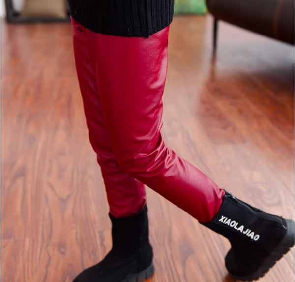 thick skinny girls leather pant trousers 2-12 year girls leggings kids legging/leggins baby pant for girl fleece inside