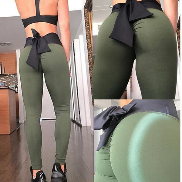 Women Sports Pants High Waist Fashion Yoga Fitness Leggings with Bowknot Gym Wear Stretch Trousers Lift Hips Running Pants