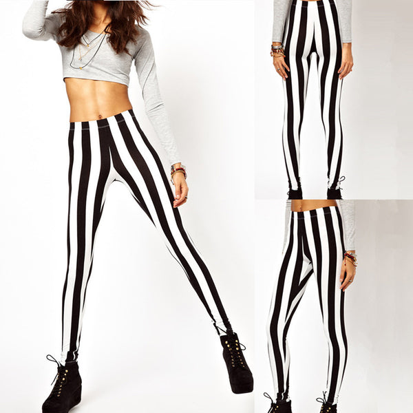 Sexy Fashion Women Leggings Black White Vertical Stripe Zebra Stretchy Tights Pants