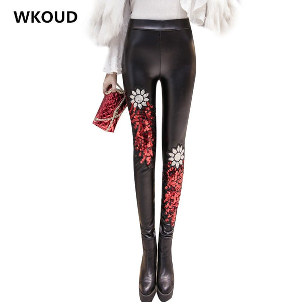 WKOUD High Waist Sequin Pencil Pants Women Black Skinny Winter Trousers Female Warm Fleeces Leggings Fitness Casual Wear P8501