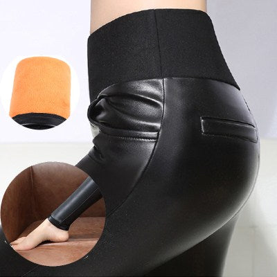 28bc9a3ce52 WKOUD 6XL High Waist PU Leather Leggings Women Winter Warm Pencil Pants  Fleeces Thickening Plus Size