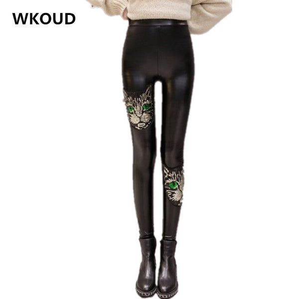 WKOUD Winter Leggings For Female Faux Leather Black Pants High Waist Cat Sequin Patchwork Trousers Casual Fitness Footless P8499