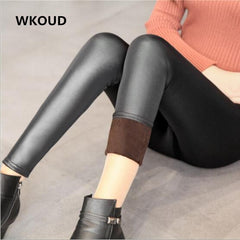 WKOUD Winter Leather Leggings For Women Fleeces Warm Pants Skinny Women's Thickening Leggings Footless Trousers P8125