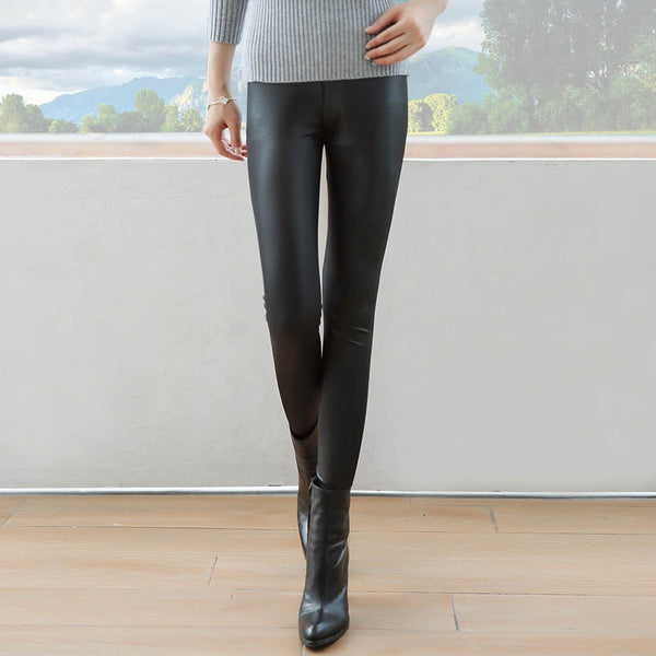 Women Legging Pants Slim Fit High Waist Pu Leather Autumn Outwear Skinny