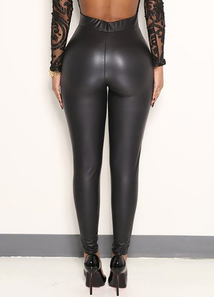 Sexy Women Pu Wet Look Faux Leather Stretchy Leggings Elastic Waist High Rise Skinny Pants Trousers Jeggings Black