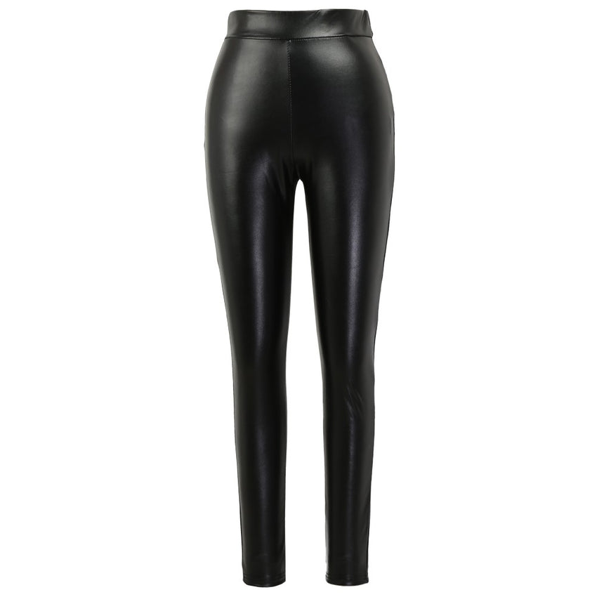 1664836668815 Sexy Women Pu Wet Look Faux Leather Stretchy Leggings Elastic Waist High  Rise Skinny Pants Trousers