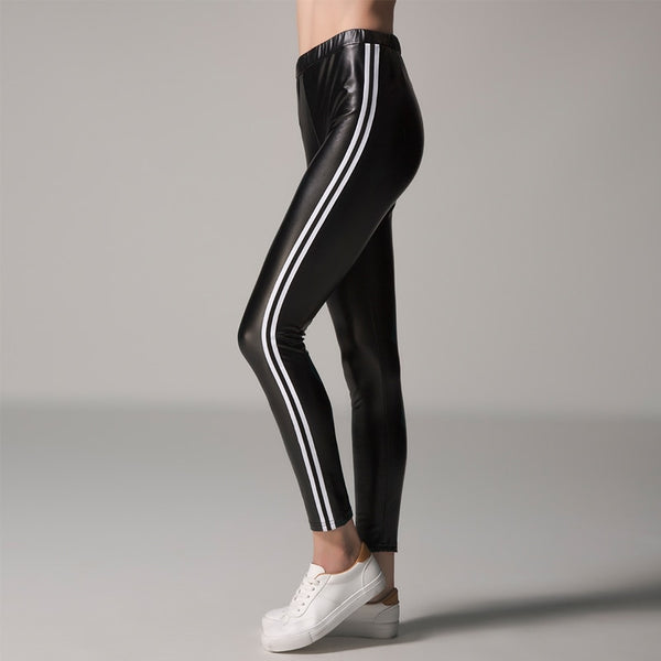 Plus Size Women PU Leather Pants 2018 Sexy High Waist Leggings Female Black Stripe Elastic Waist Slim Casual Sexy Long Legging