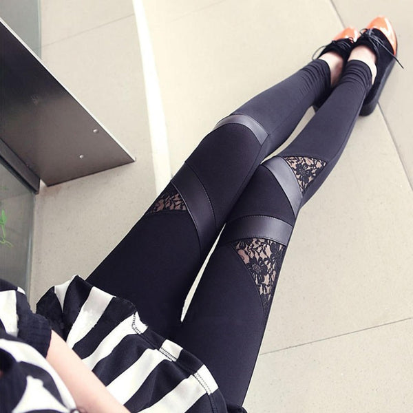 Women Slim PU Leather Leggings Pants Trousers Black Medium Waist Patchwork  Sexy Lace Women Leggings Punk Rock Slim Leggings