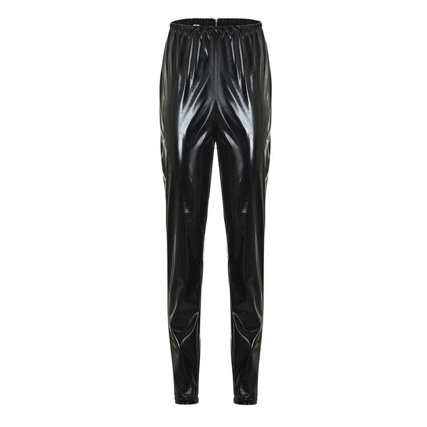 Women Leggings Zipper Faux Leather Club Party Skinny Shiny Pants Trousers