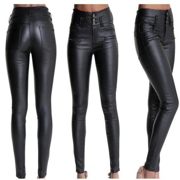 Women Pocket Stretchy Sexy Faux Leather Leggings Pants Skinny High Waist Tights