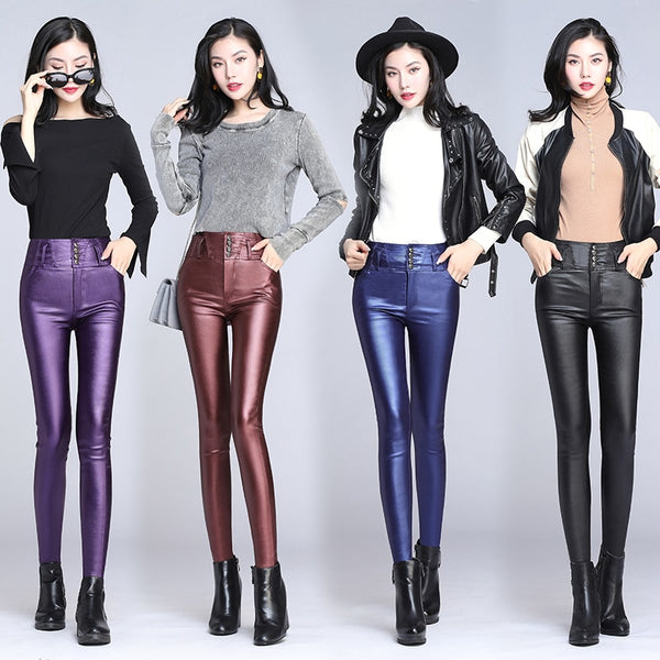 WKOUD High Waist Leather Pants Women Solid Sexy Skinny Winter Warm Trousers Female Casual Fitness Leggings Blue Red Black P8701