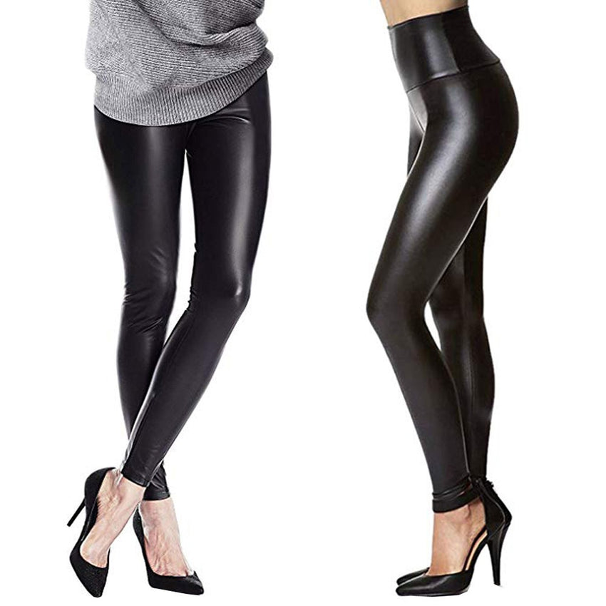 Women Stretchy Sexy Leather Leggings Pants Skinny Black High Waist Tights