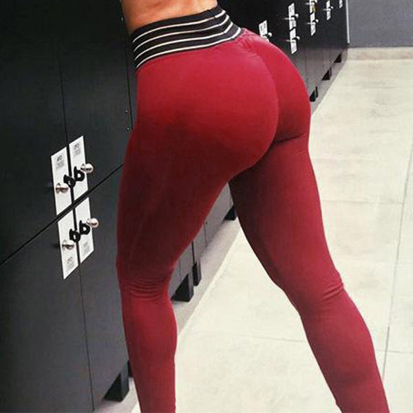 Women Fashion High Elasticity  High Waist Leggings Gym Active Pleated Pants