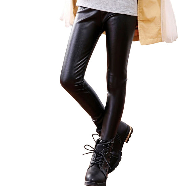 Winter Children Warm Pants PU Leather High Waist Slim Thicken Velvet 2-14Y Girls Stretch Leggings Kids Elasitc Trousers