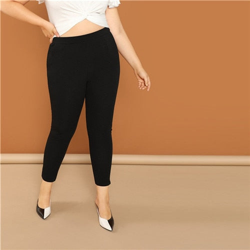 SHEIN Plus Size Pearls Embellished Women Black Leggings Spring Fashion Beaded Skinny Leggings