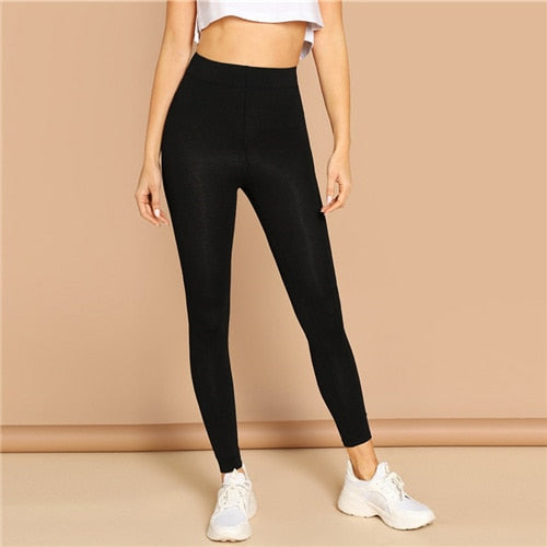 SHEIN Black High Waist Solid Ankle-Length Skinny Crop Leggings Women 2019 Spring Highstreet Casual Minimalist Plain Leggings
