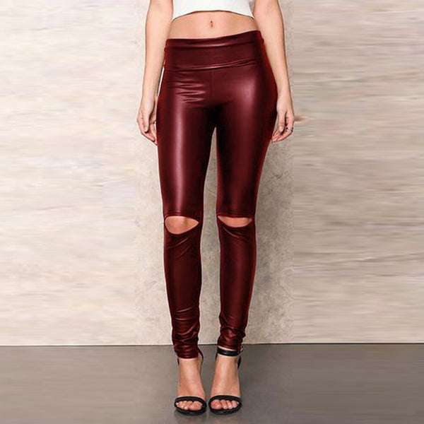 Women Knee Cut Ripped Hole High Waisted Skinny Leather Leggings Tights Pants