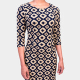 Peju Dress - Navy Blue & Gold