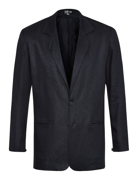 Navy Herringbone Linen Jacket