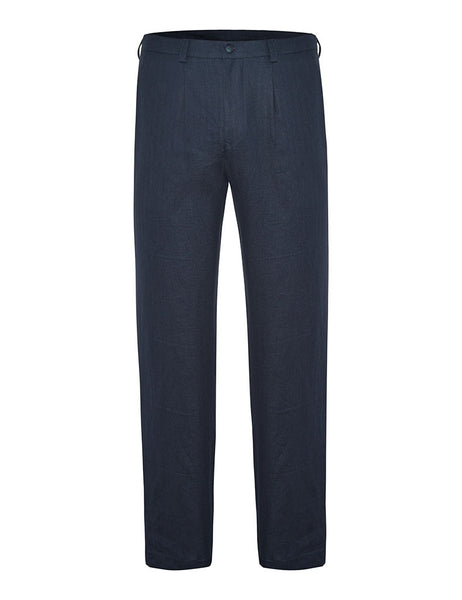 Indigo Herringbone Linen Suit Trousers