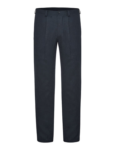 Navy Non Crush Linen Trousers