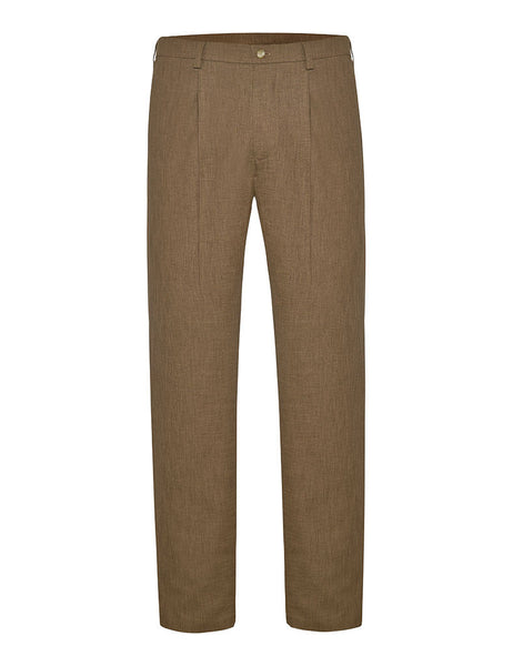 Coffee Linen & Silk Suit Trousers