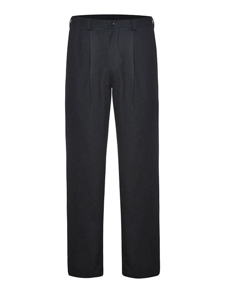 Black Non Crush Linen Trousers